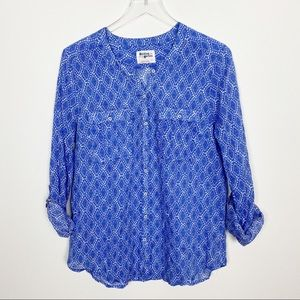 {Anthro} Holding Horses button down blue print top